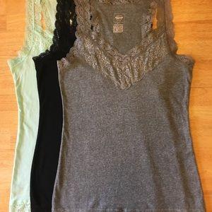 Lot of 3 Cotton & Lace Camisoles